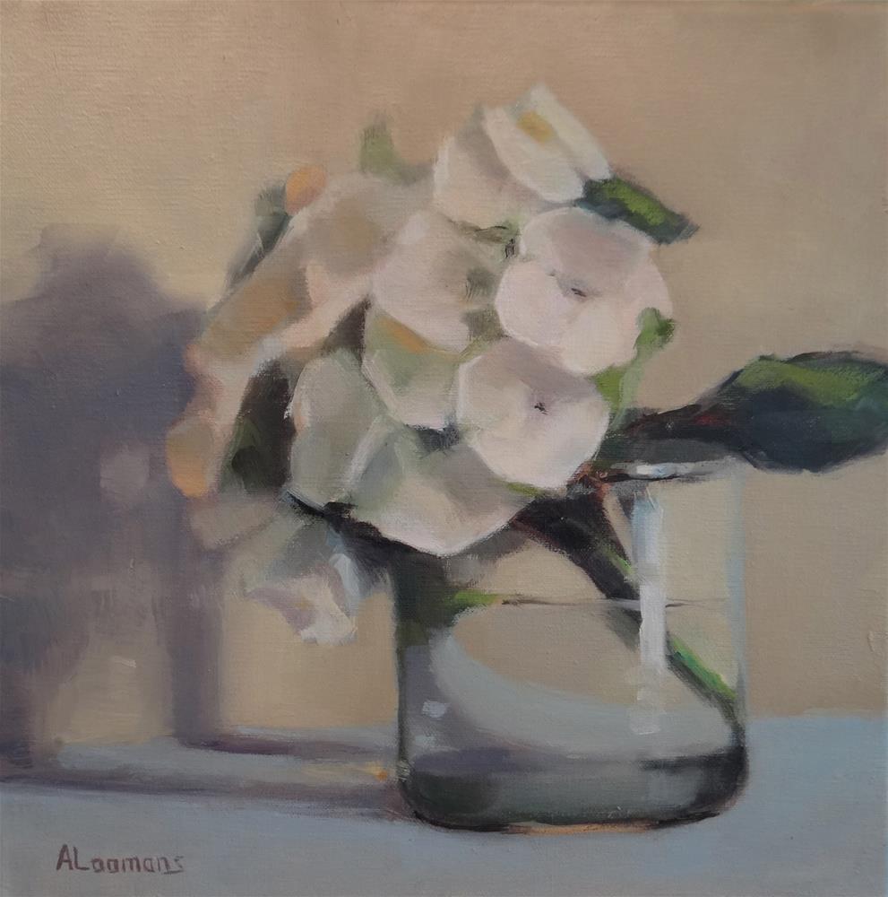 """White Hydrangea"" original fine art by Adele Loomans"