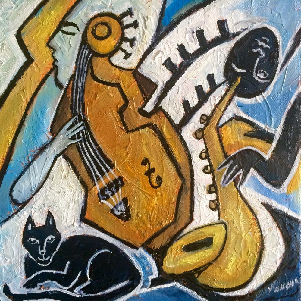 """Black Cat Jazz #2"" original fine art by Valerie Vescovi"