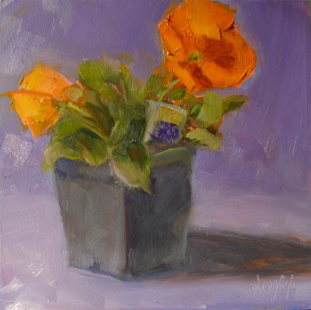 """Orange Pansies"" original fine art by Carol Josefiak"