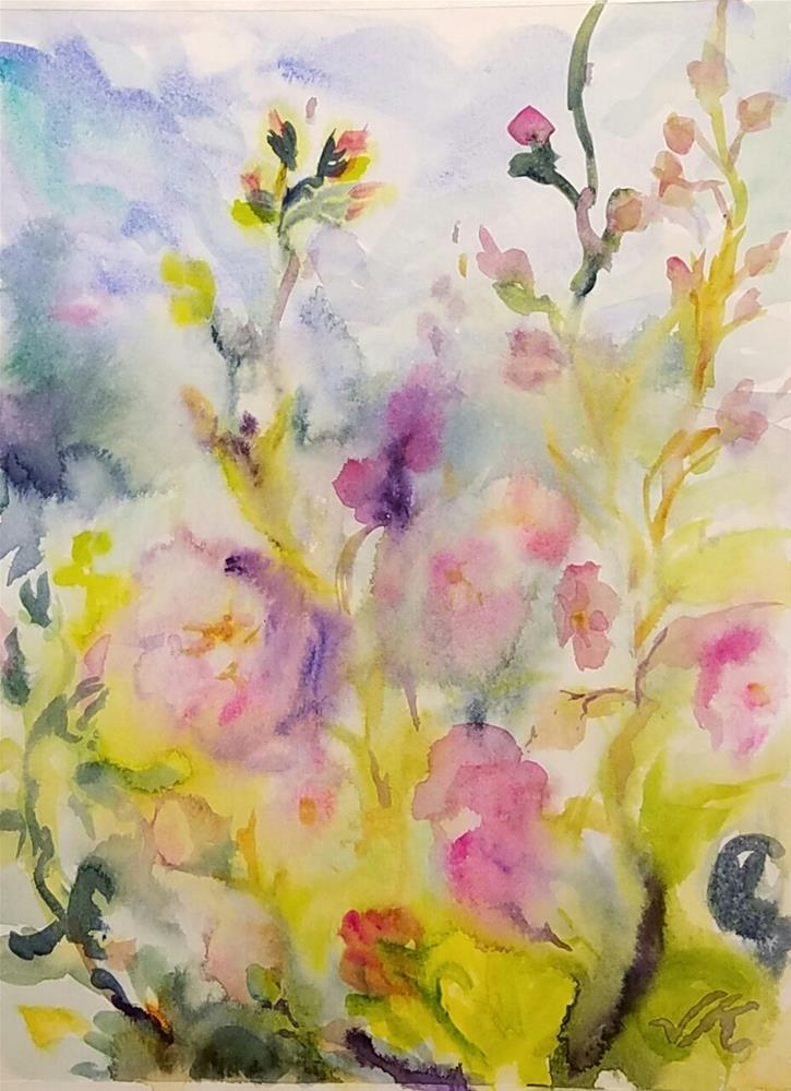 """Hollyhocks  After August"" original fine art by Jean Krueger"