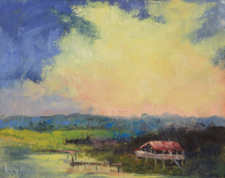 """Intracoastal Sunset"" original fine art by Kathy Collins"