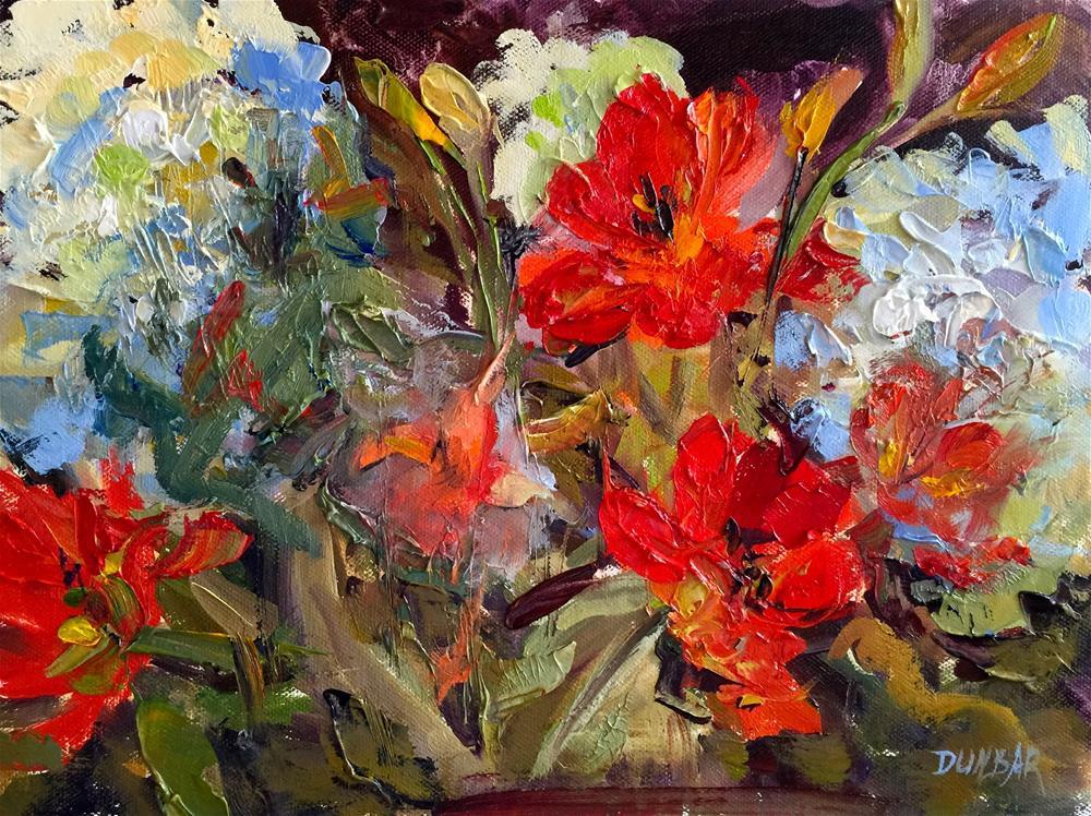 """""""Floral Frenzy"""" original fine art by Linda Dunbar"""