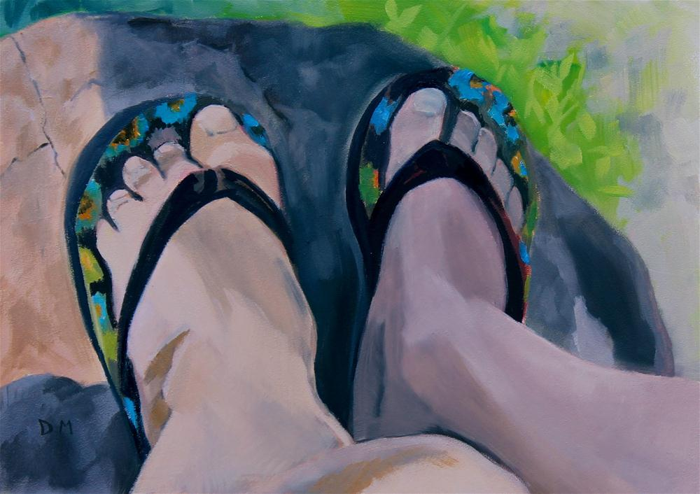 Family feet original fine art by Darlene Mowatt