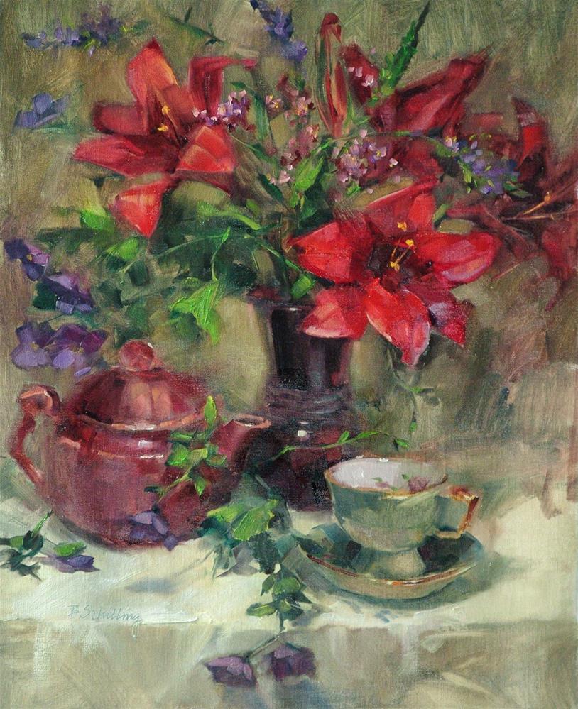 """Red Velvet Lily"" original fine art by Barbara Schilling"