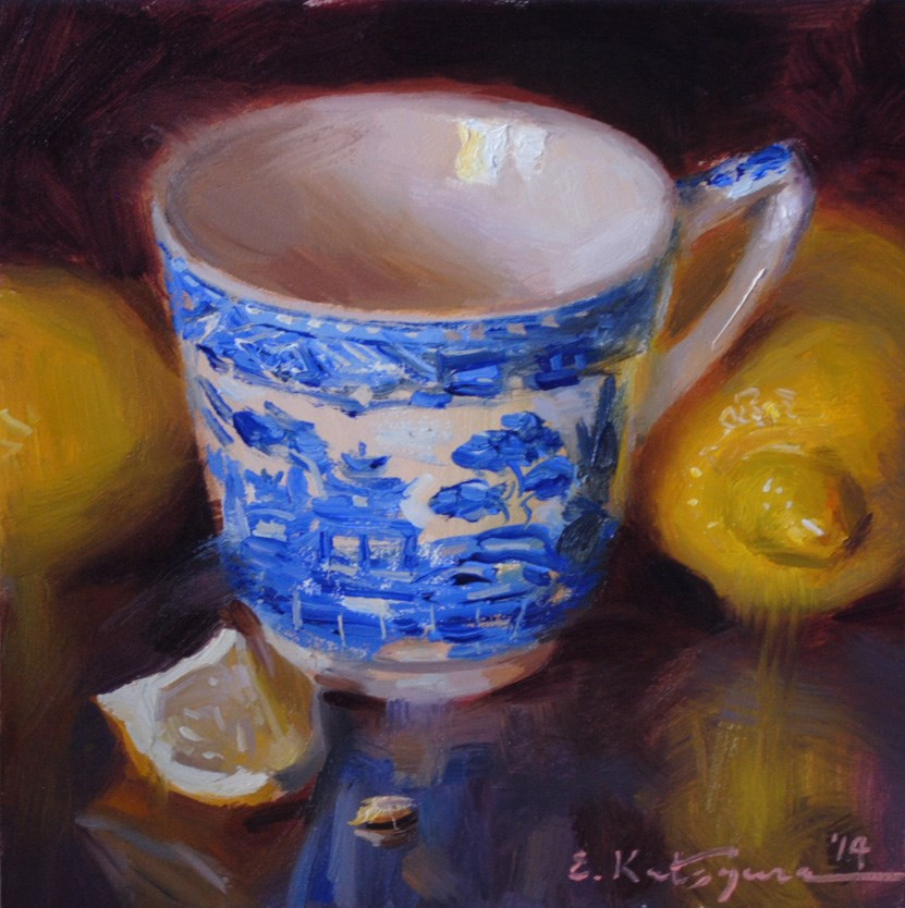 """Blue Mug and Lemons"" original fine art by Elena Katsyura"