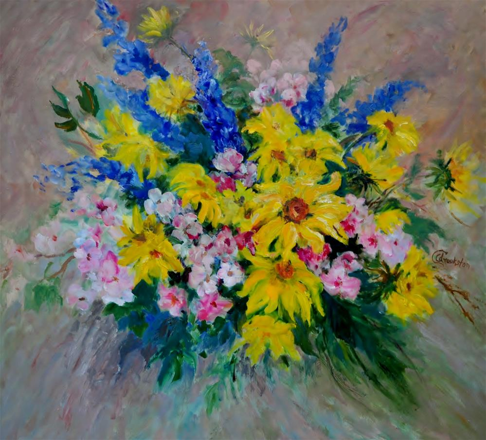 """Sunflowers and Apple Blossoms"" original fine art by Catherine Crookston"