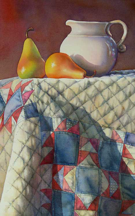 """AUNT ELLEN'S QUILTS watercolor still life painting"" original fine art by Barbara Fox"