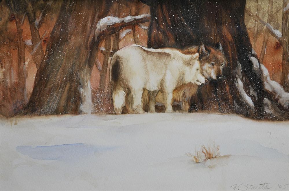 """Wolves In Deep Winter"" original fine art by Wendy Starita"