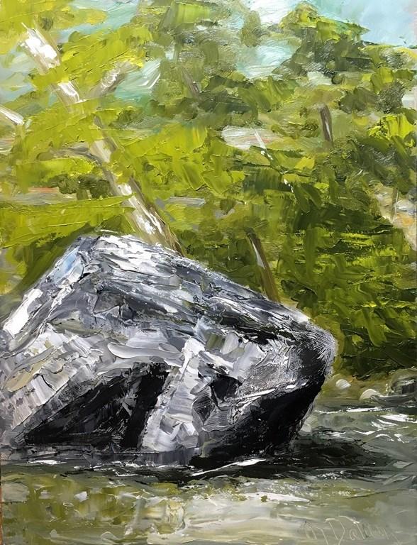 """Boulder at Shoal Creek"" original fine art by Mary Datum"