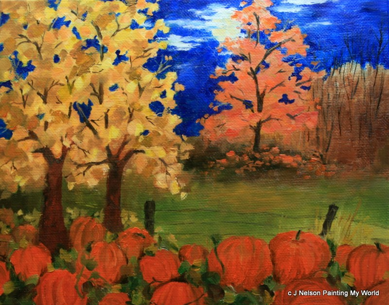 """Autumn Moon"" original fine art by Jean Nelson"