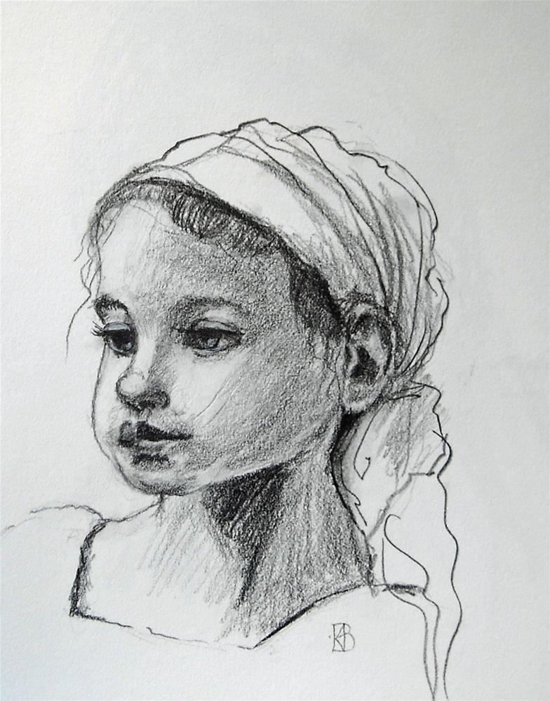 """""""Angel face in a headwrap"""" original fine art by Kathleen Barnes"""