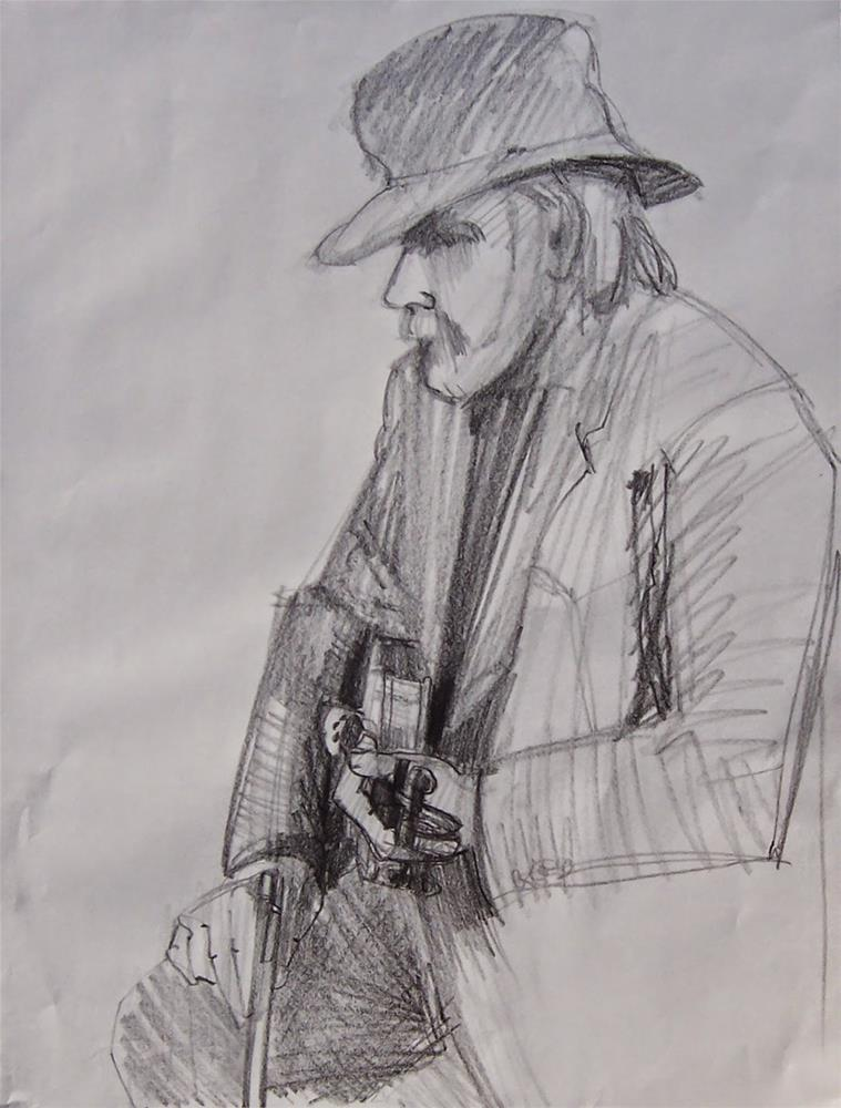 """Music Rest,portrait,graphite drawing,24x16,price$175"" original fine art by Joy Olney"