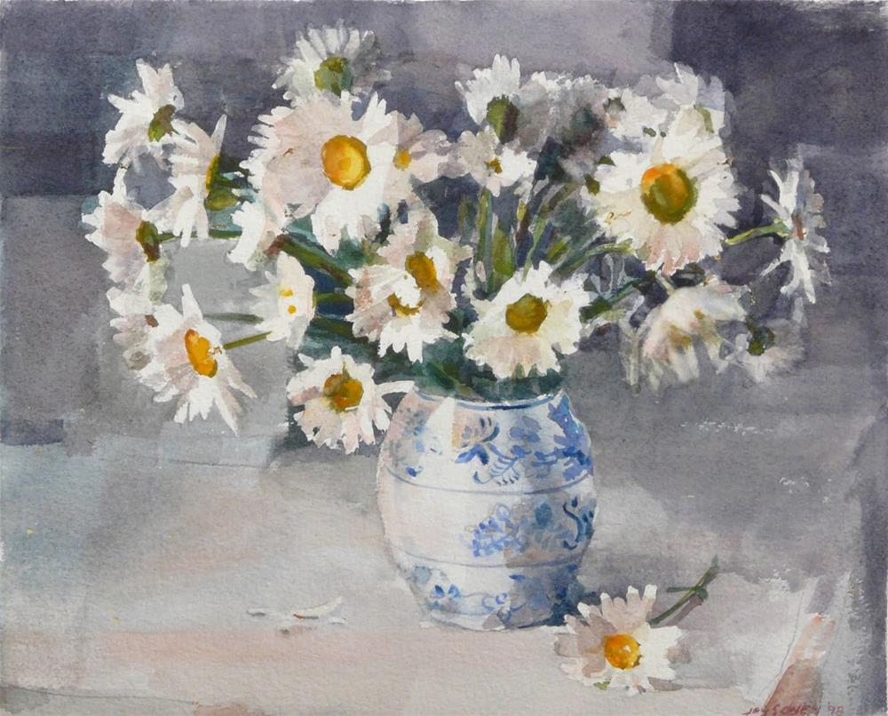 """Daisies in Blue and White Vase,still life,watercolor,10x12,priceNFS"" original fine art by Joy Olney"