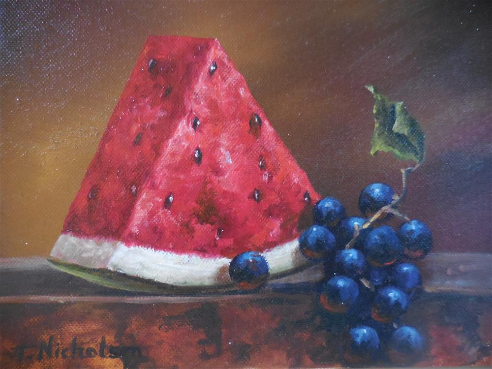 """Watermelon"" original fine art by Terri Nicholson"