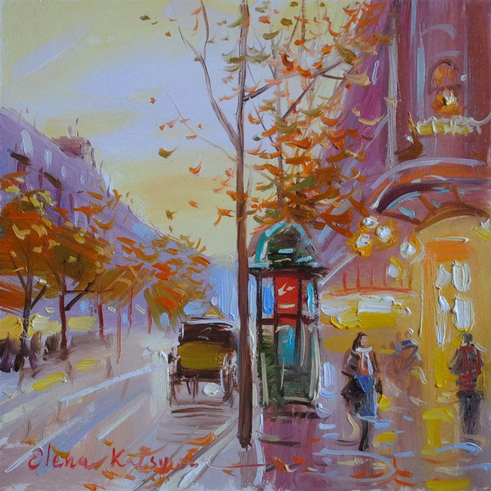 """Autumn Day in Paris"" original fine art by Elena Katsyura"
