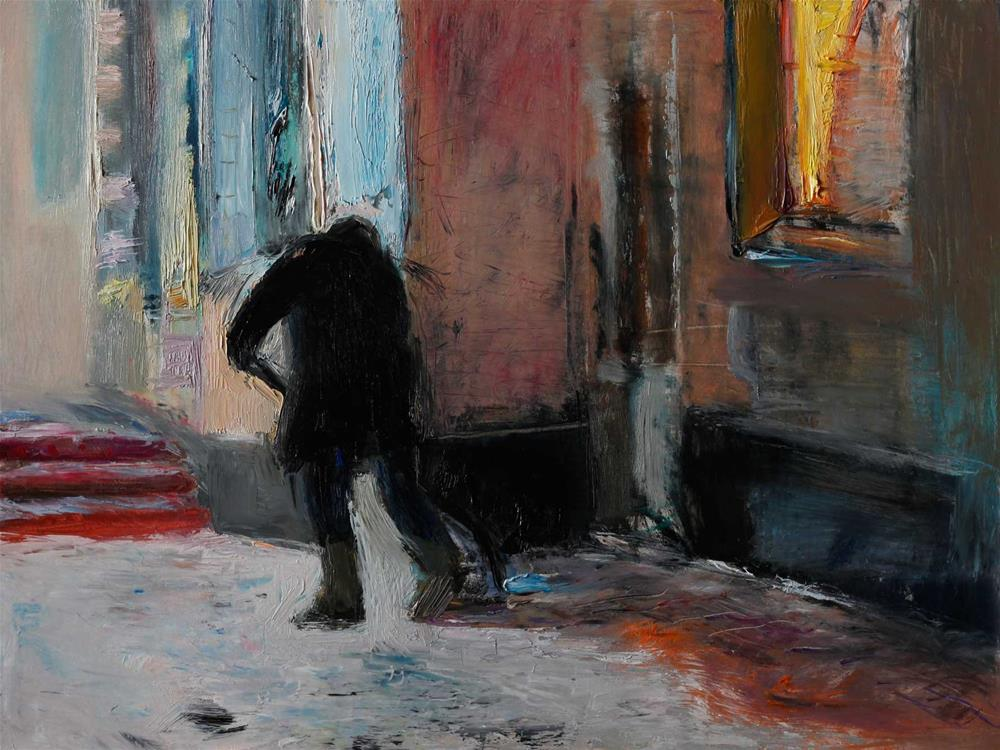 """A Man Shoveling Snow"" original fine art by Anna  Fine Art"
