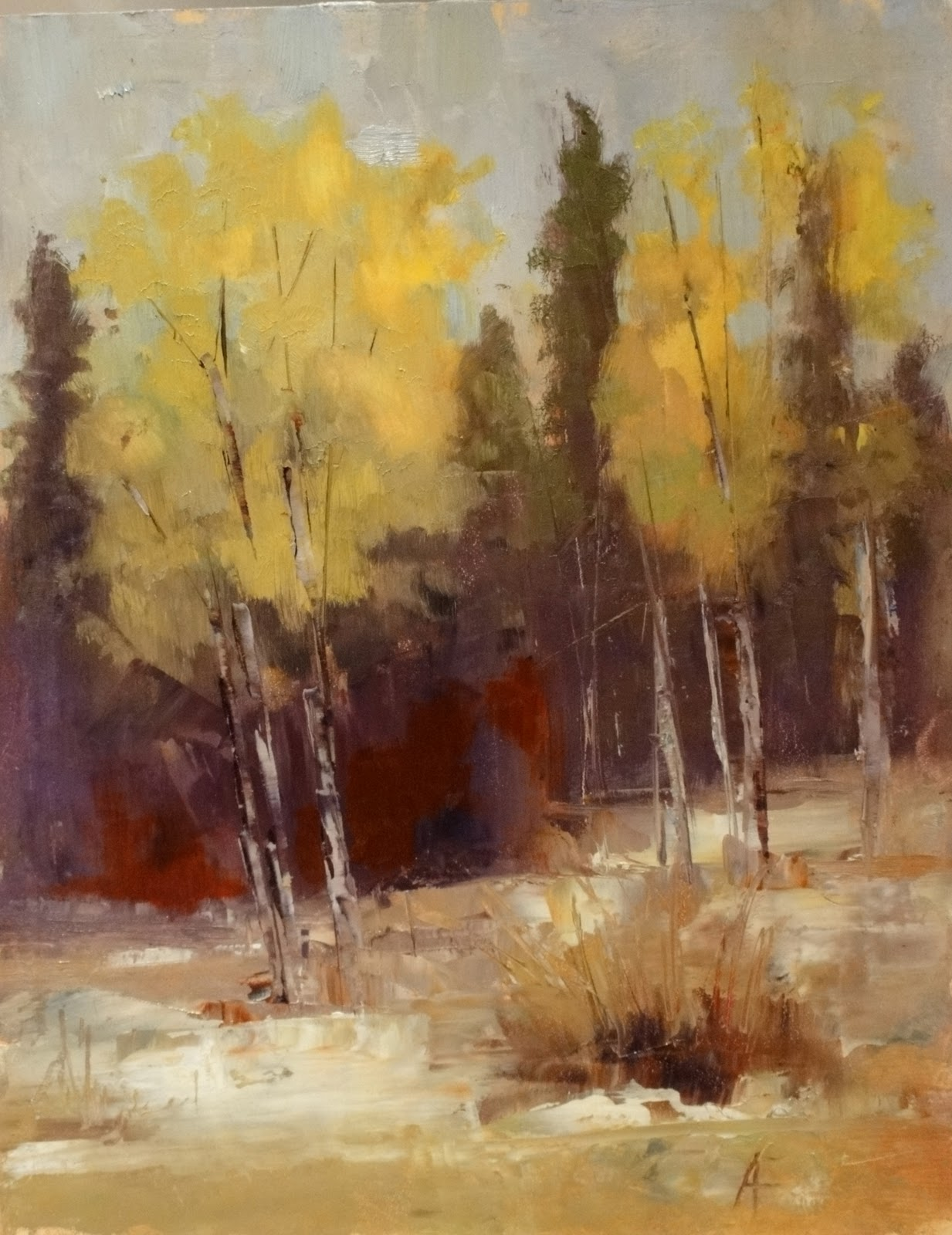 """Aspens in the Snow, 8x10"" original fine art by Ann Feldman"