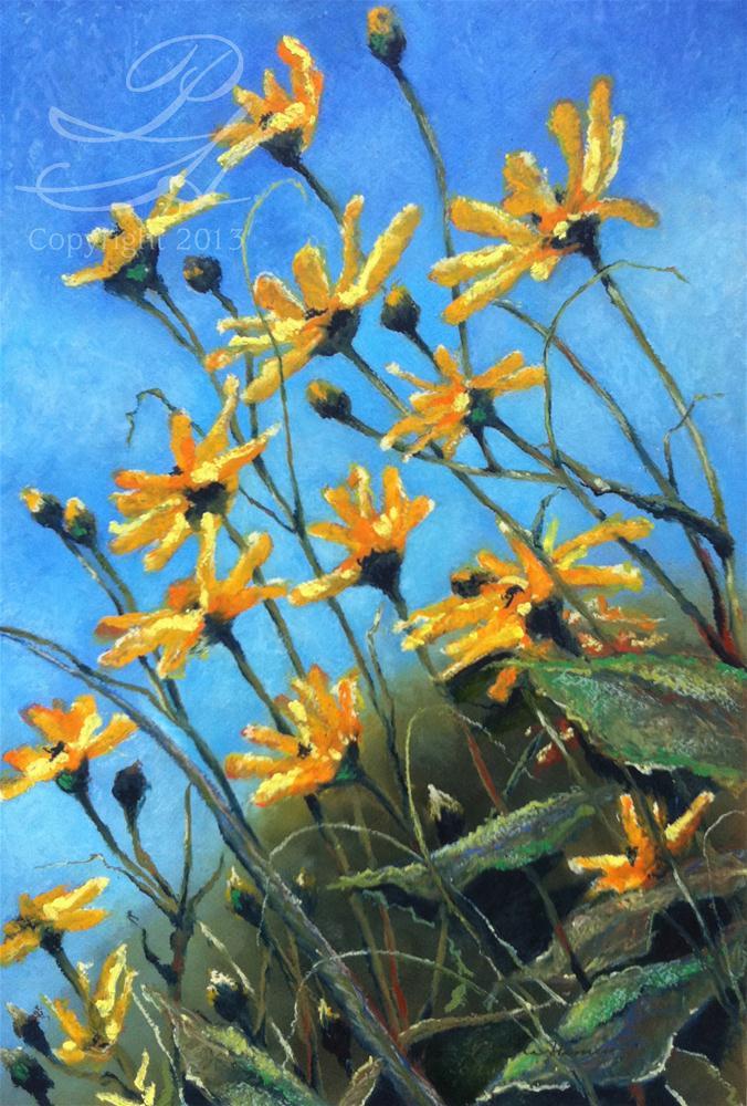 """Blue Sky Flowers"" original fine art by Pamela Hamilton"