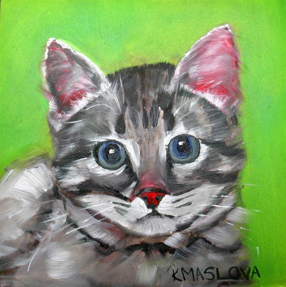 """Kitten 2"" original fine art by Kulli Maslova"