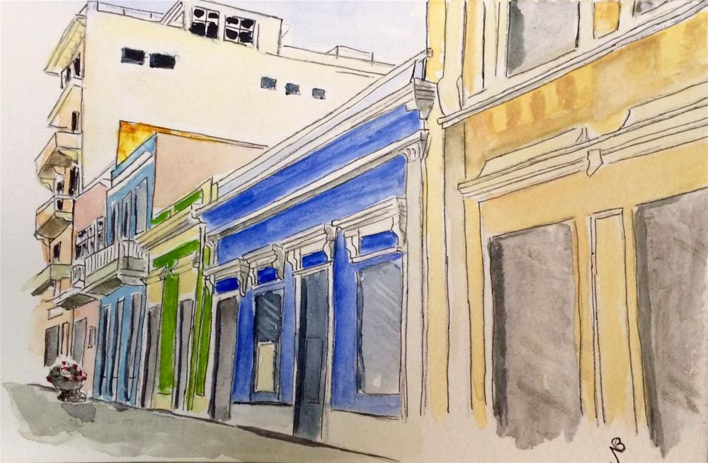 """Colorful San Juan Street watercolor 6 x 9"" original fine art by Nancy Beard"