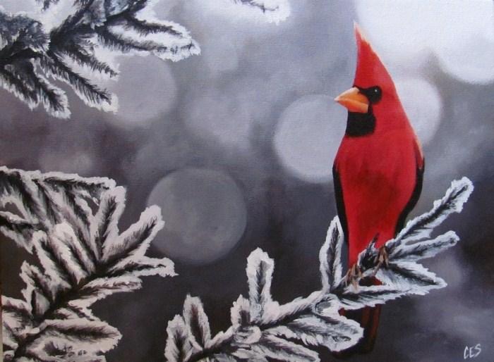 """""""Winter Cardinal"""" original fine art by ~ces~ Christine E. S. Code"""