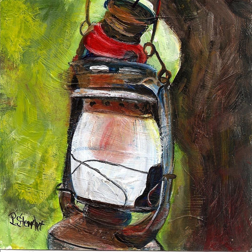 """6x6 Lantern Tree Coleman Lamp Outdoors Camping Lite by Penny Lee StewArt"" original fine art by Penny Lee StewArt"