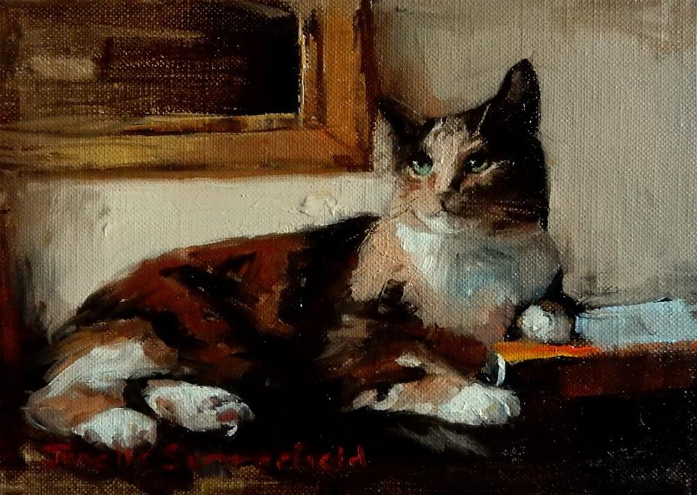 """Cat and Book"" original fine art by Jonelle Summerfield"