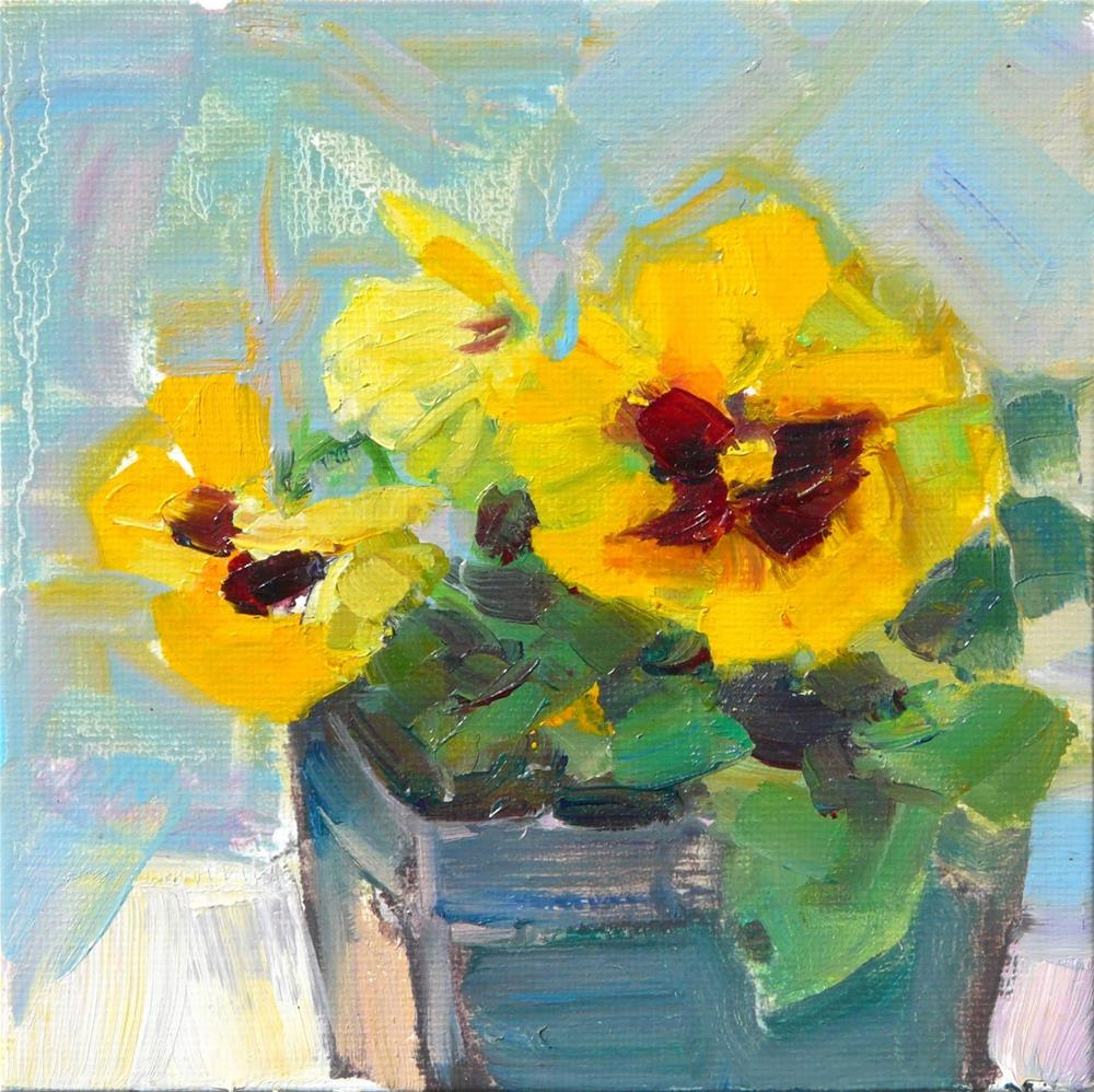 """Yellow Pansies 3,still life,oil on canvas,6x6,price$200"" original fine art by Joy Olney"