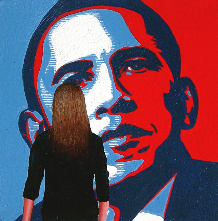 """Obama- Painting Of Woman Enjoying Hope Poster By Shepard Fairey"" original fine art by Gerard Boersma"