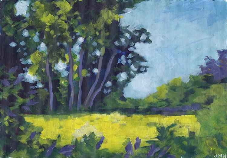 """Sunlit Trees Across The River"" original fine art by J M Needham"
