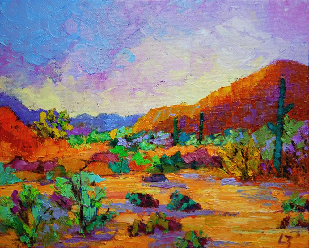 """Desert Sunrise"" original fine art by Liz Zornes"