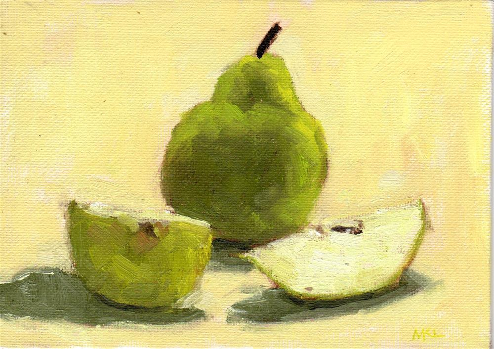 """Unsliced Pear"" original fine art by Marlene Lee"