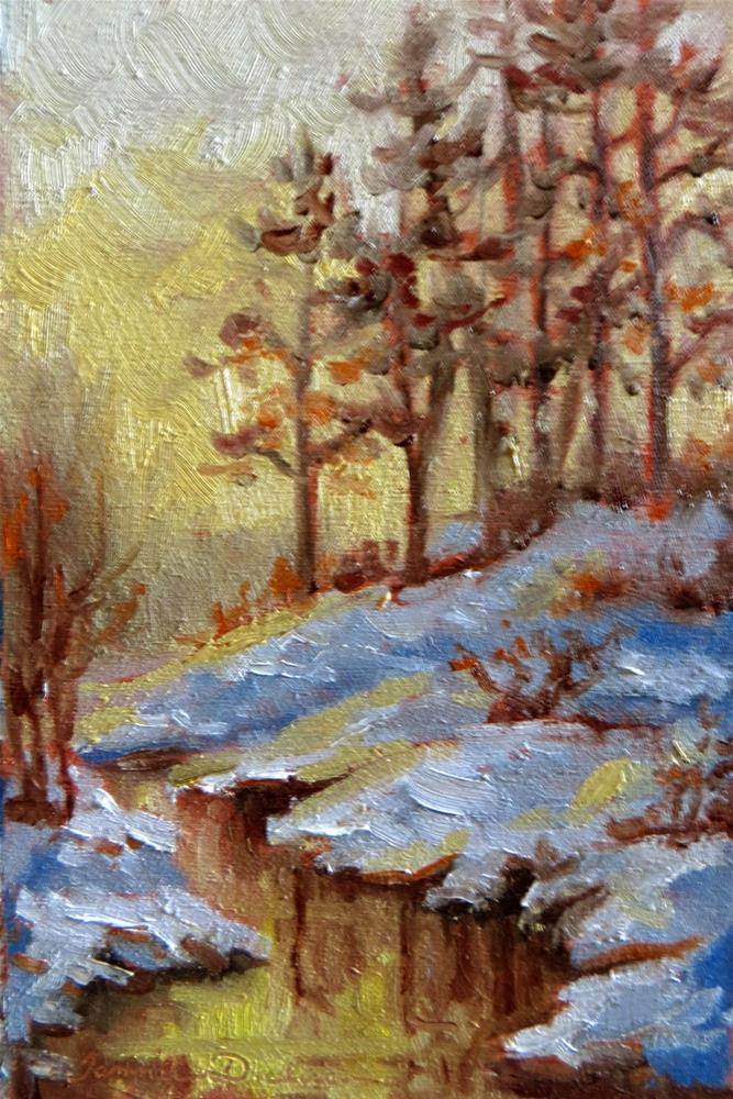 """Golden Winter Stream"" original fine art by Tammie Dickerson"