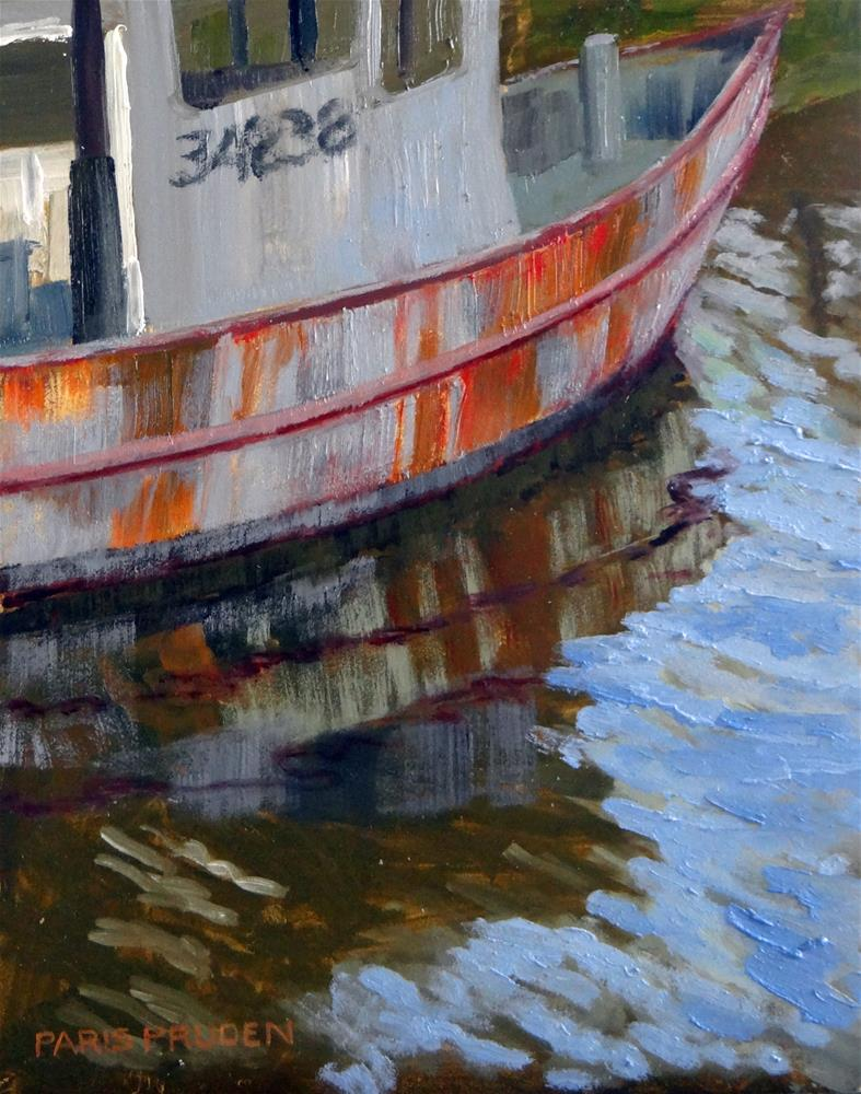 """Shrimp Boat at the Bay"" original fine art by Nancy Paris Pruden"