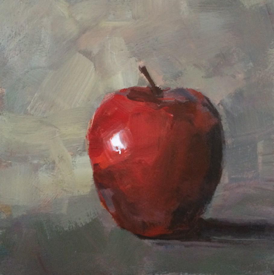 """Single Red Apple"" original fine art by Shannon Bauer"