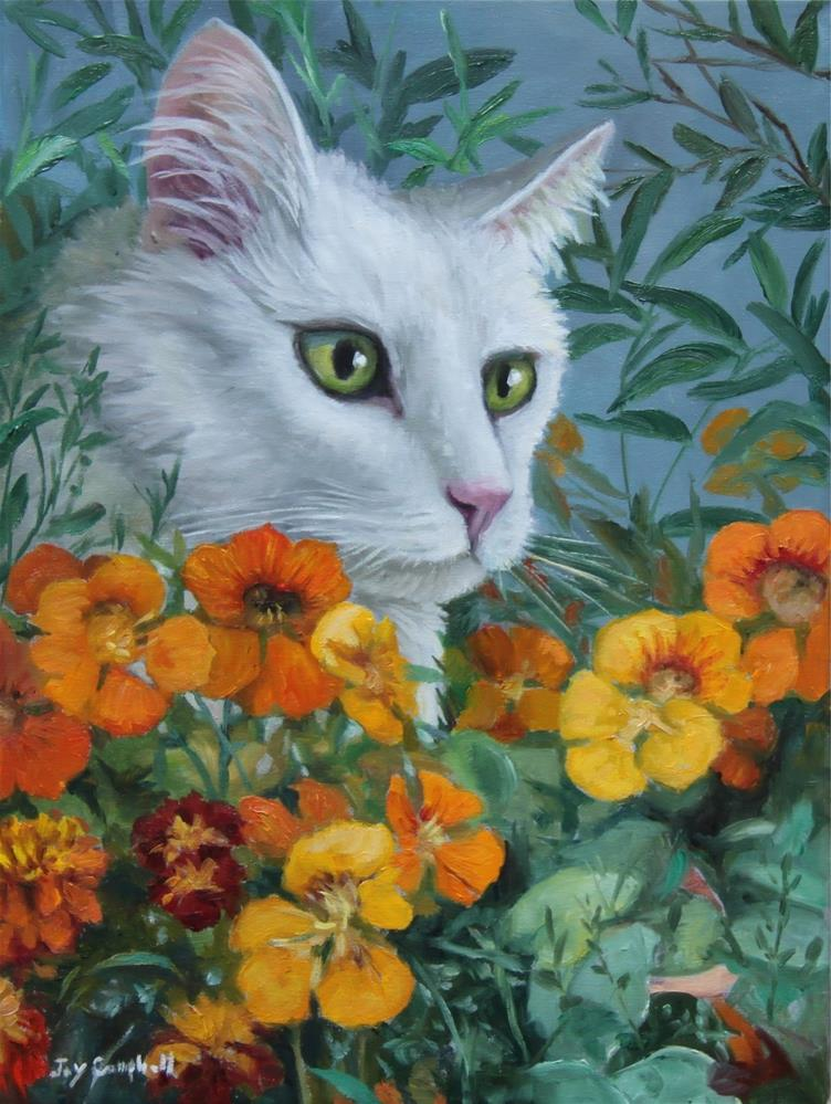 """Hiding in the Nasturtiums"" original fine art by Joy Campbell"