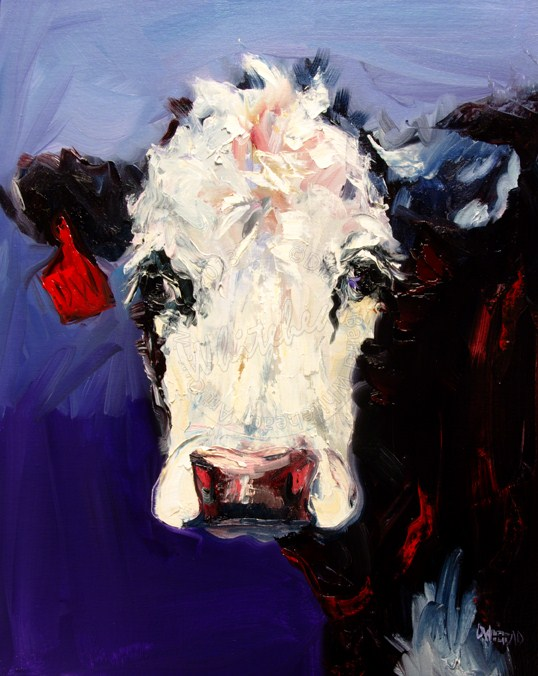 """ARTOUTWEST DIANE WHITEHEAD FINE ART COW CATTLE ART OIL PAINTING ANIMAL"" original fine art by Diane Whitehead"