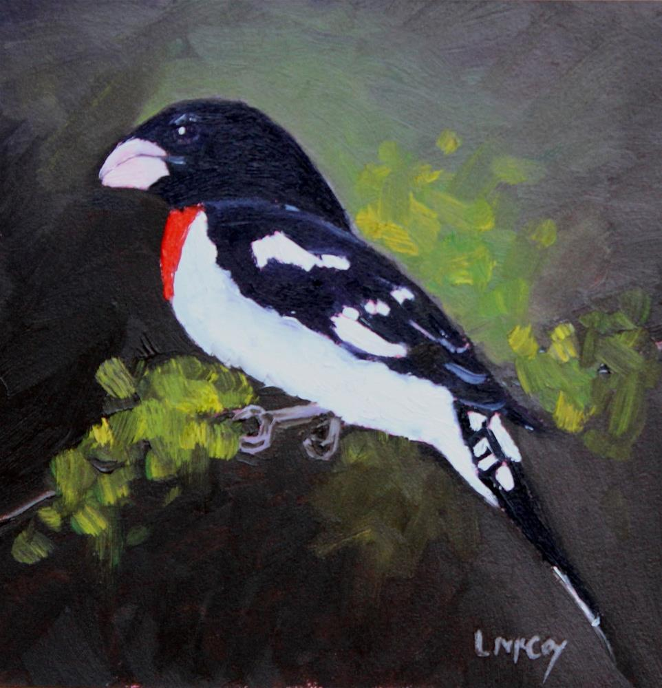 """Formal Attire, Male Rose Breasted Grosbeak"" original fine art by Linda McCoy"