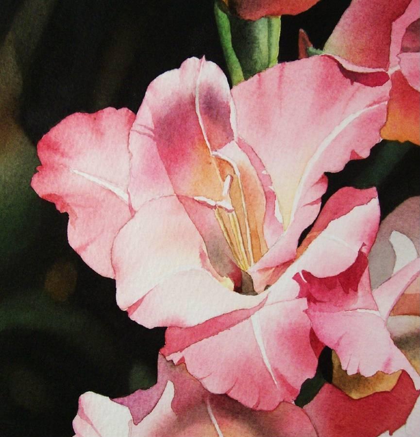 """""""Pink Gladiola"""" original fine art by Jacqueline Gnott, TWSA, WHS"""