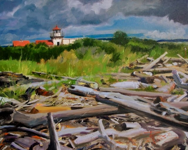 """Point No Point Lighthouse in Spring  Washington state , oil landscape painting"" original fine art by Robin Weiss"