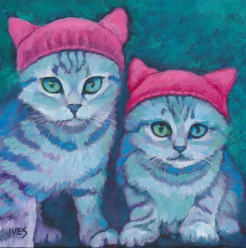 """PussyHat Kittens"" original fine art by Rk Ives"