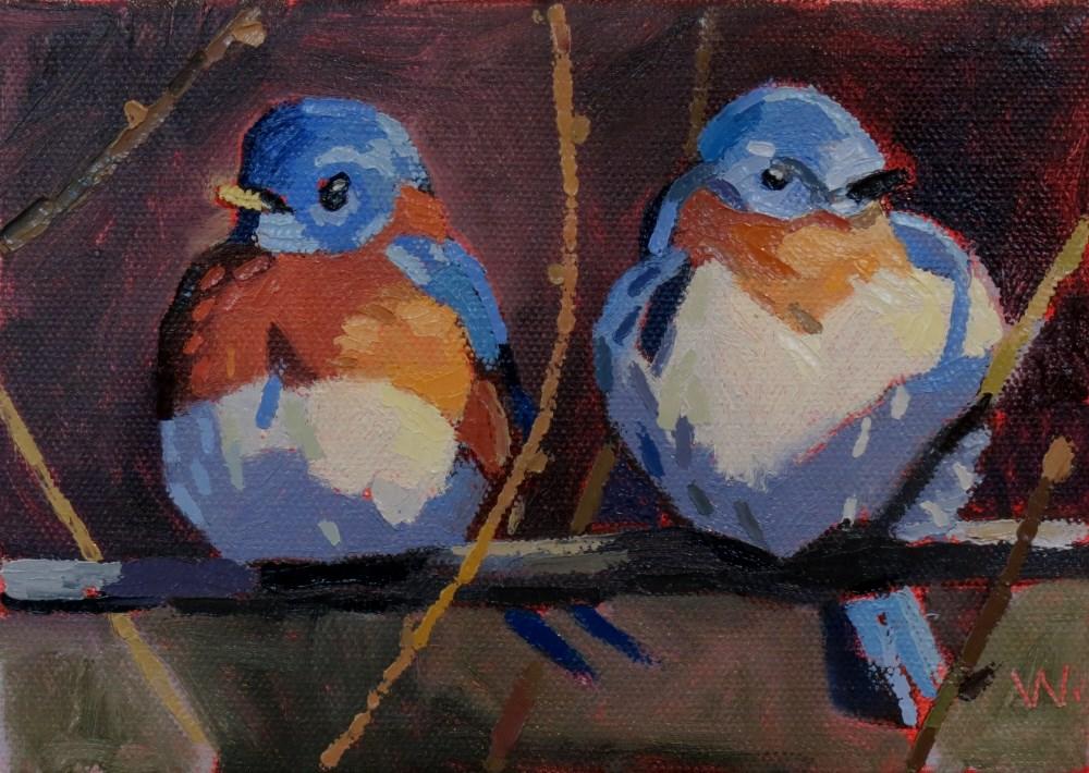 """""""Birds in a Row"""" original fine art by Joan Wiberg"""