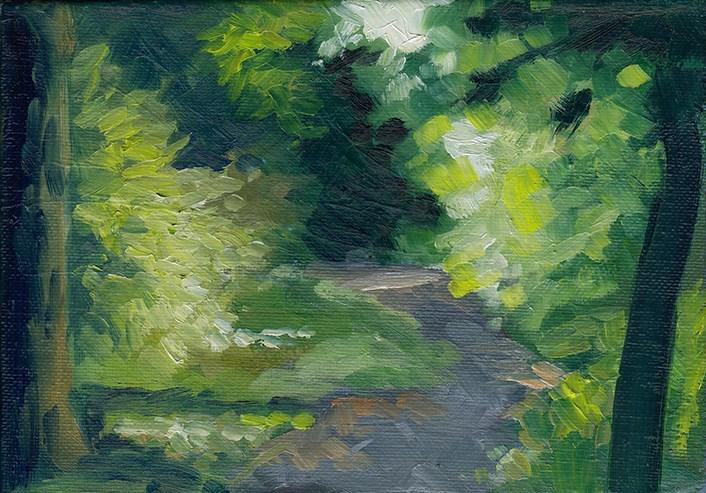 """Tree-Lined Path Study"" original fine art by J M Needham"