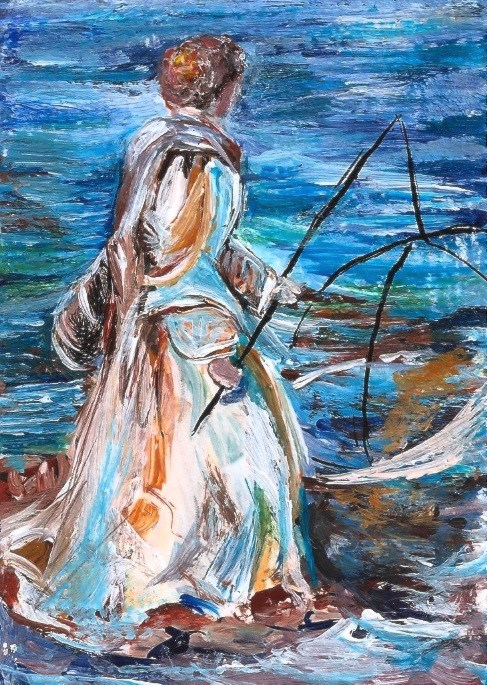 """ACEO Girl Fishing Lake Ocean in the Style of John Singer Sargent Penny StewArt"" original fine art by Penny Lee StewArt"