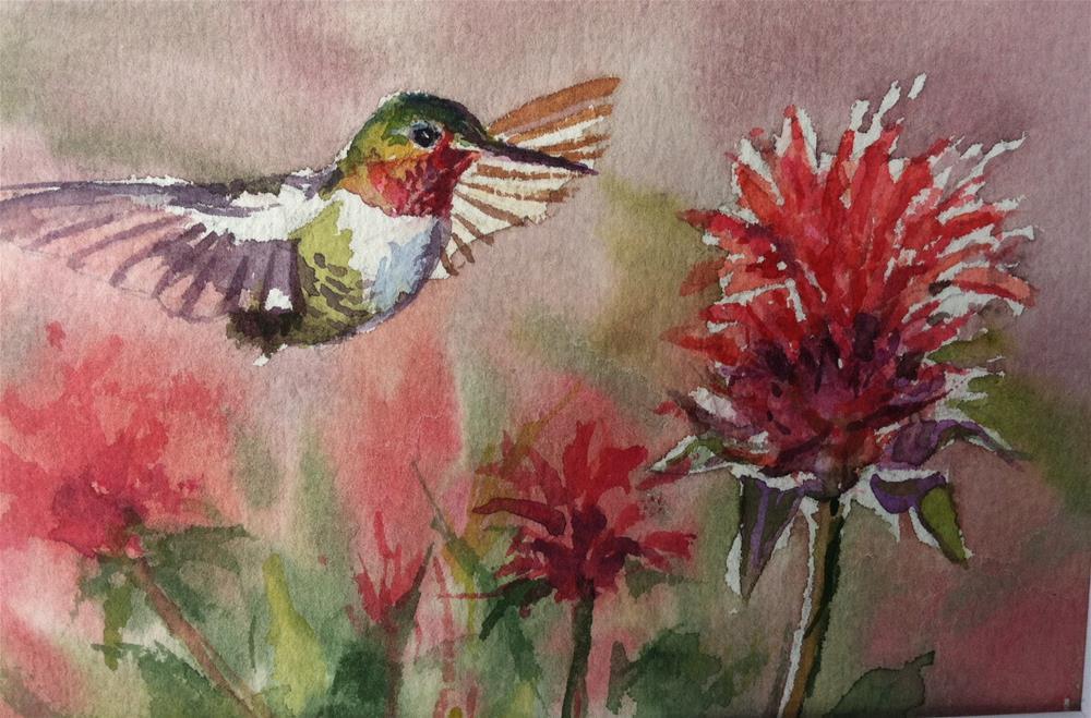"""Ruby-throat hummingbird on Beebalm"" original fine art by Kathryn Kittell"