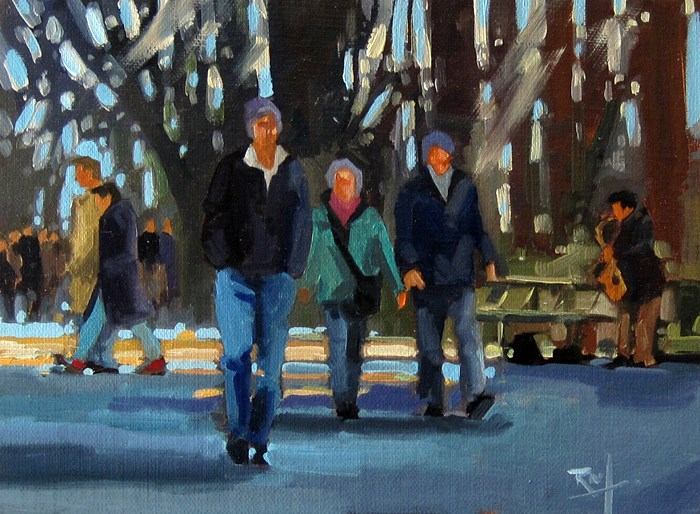 """No 808 Afternoon Walk"" original fine art by Robin J Mitchell"