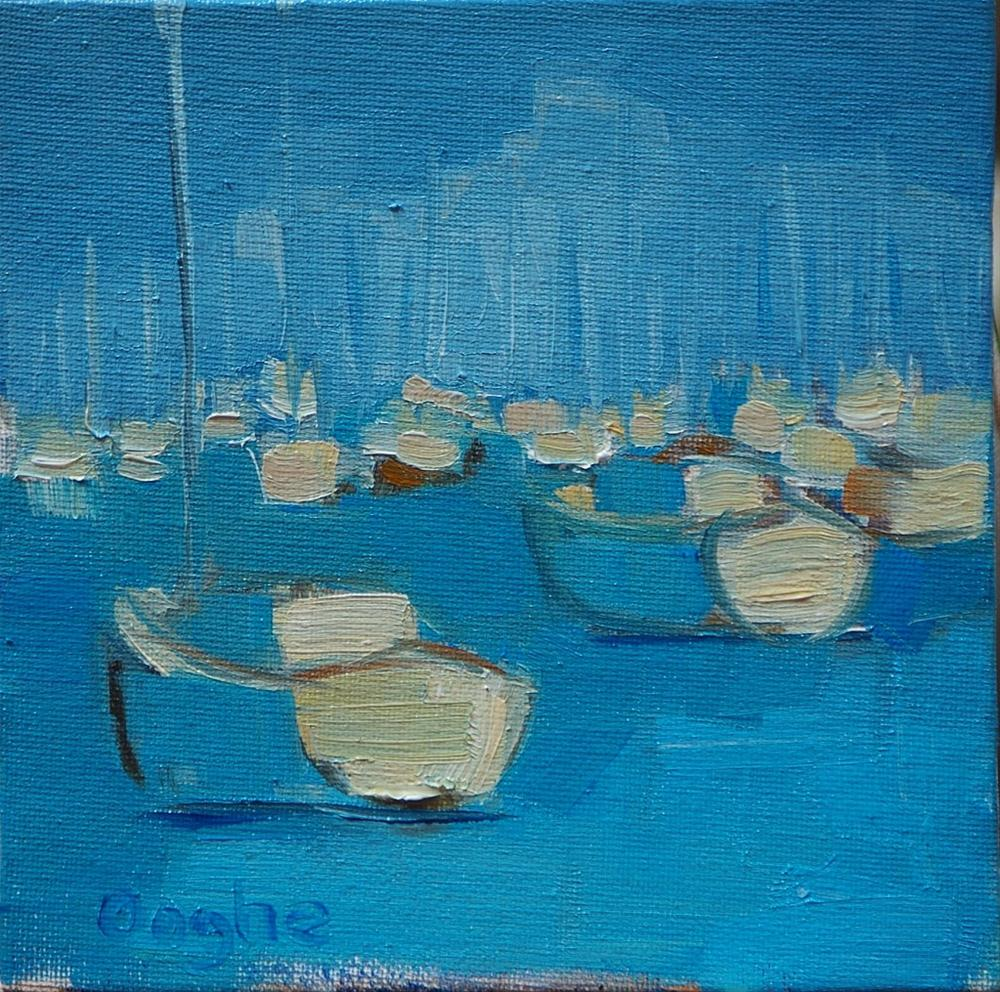 """Sailboats in a Mooring Field"" original fine art by Angela Ooghe"