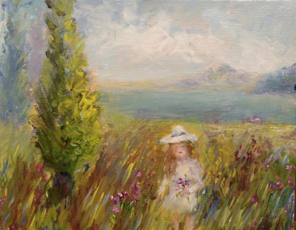 """Picking Posies by the Sea"" original fine art by S. Lynne Price"