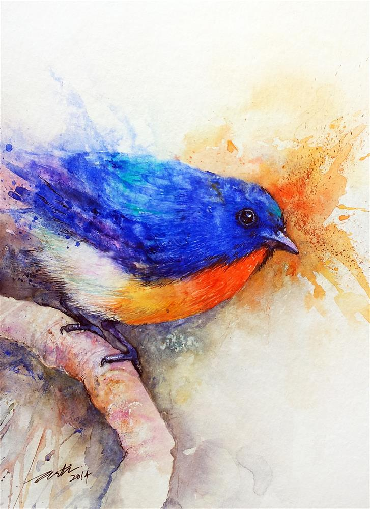 """The Blue Bird"" original fine art by Arti Chauhan"