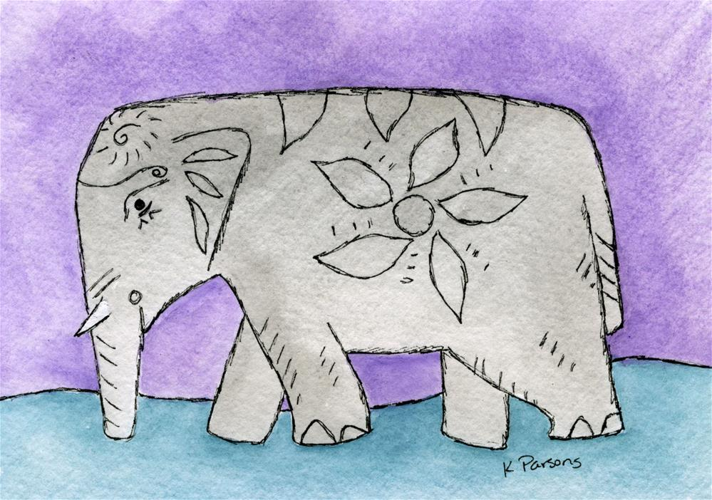 """Decorated Elephant 2"" original fine art by Kali Parsons"
